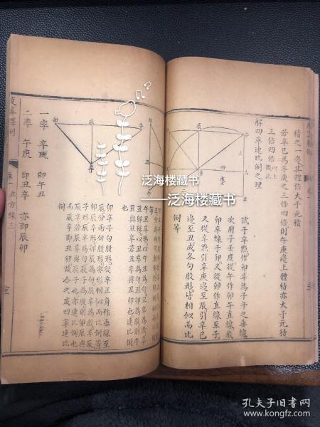 极稀见数学类古籍】清刻本 【度算释例】1册全。精写刻,品相佳,孔网孤本。此书为清代著名数学家梅文鼎历算全书之一种,内有各类数学类版画数十幅。十分罕见,值得收藏。
