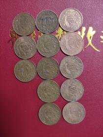 外国硬币,英国半便士13个不同年满50元包邮。