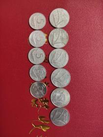 外国硬币意大利5里拉丨10里拉不同年11个满五十元包邮