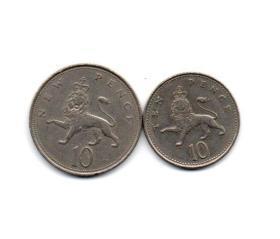 英国 硬币10便士2种版本 旧品 外国钱币