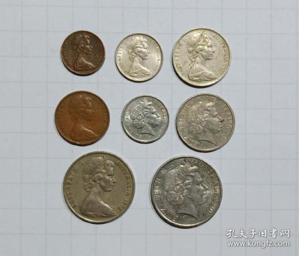 澳大利亚 硬币8枚旧品 外国钱币