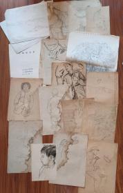 保真:祁金山(吉林艺术学院美术系教授、著名画家)速写稿一批及手写履历一本合售