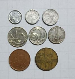 捷克 硬币8枚 旧品 外国钱币