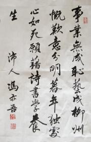 冯亦吾 行书小中堂 手写书法作品(事业无成耻艺成)