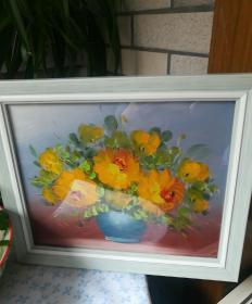 手绘油画黄玫瑰,带框