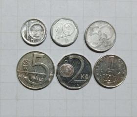 捷克 硬币6枚 旧品 外国钱币