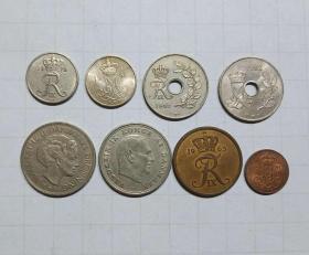 丹麦 硬币8枚 旧品 外国钱币