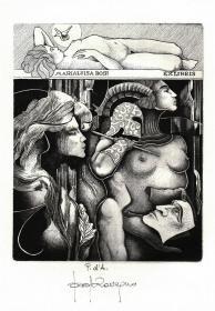 意大利版画名家保罗·洛瓦格诺藏书票原作2