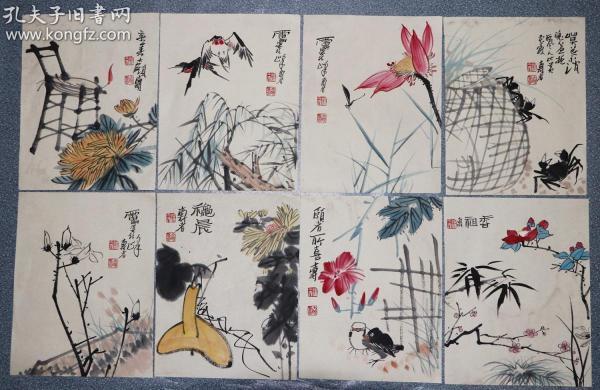 现代画家、教育家。曾任中国美术家协会副主席、浙江美术学院院长   潘天寿   花鸟册页8张