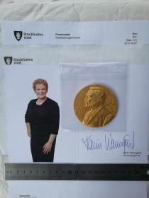 诺贝尔生理学或医学奖、官方精美纪念奖章1枚、限量版特制、做工精致、全新、未拆封、珍贵、罕见、寄自瑞典斯德哥尔摩市长办公室(非常具有收藏价值)