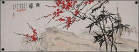 当代著名书画家【 米景扬 程振国  赵准旺 刘永明 】合作三友图,【苏士澍】提拔