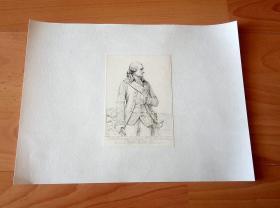 1840年钢版画《18世纪法国军事家、元帅-- 让·巴普蒂斯·杜纳坦·德·维缪尔,罗尚博伯爵(1725 -1807年,以支援美国革命而知名) -- 巴黎凡尔赛宫肖像画廊系列》(Jean Baptiste Donatien de Vimeur,comte de Rochambeau) --  后背纸张尺寸30*22.5厘米,版画纸张尺寸13*9.2厘米