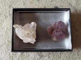 朝鲜产天然水晶原石2块——紫水晶、白水晶各1块(珍贵天然水晶,保真!)