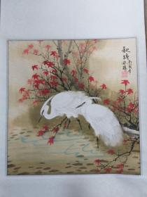 山东画家,胡开禧,,丙戌立轴作品《秋塘》,完美品。稀少难得。63厘米60厘米,