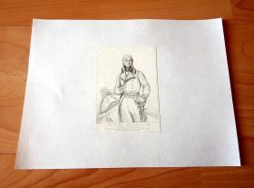 1840年钢版画《18世纪法国军事家、元帅 -- 皮埃尔·里埃尔,伯农维尔侯爵(1752--1821年) -- 巴黎凡尔赛宫肖像画廊系列》(Pierre de Ryel marquis de Beurnonville) --  后背纸张尺寸30*22.5厘米,版画纸张尺寸13*9.2厘米
