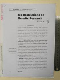 (1962年诺贝尔生理学或医学奖获得者、世界顶级权威期刊论文《遗传基因研究无限制》)DNA之父、DNA双螺旋结构发现者、20世纪分子生物学带头人、《时代周刊》历史上最具影响力的20大人物、詹姆斯·杜威·沃森(James Dewey Watson)、亲笔签名、官方论文文章1份、手绘DNA双螺旋结构(签于国际顶级权威期刊《New Perspectives Quarterly》、非常珍贵、非常罕见)