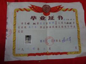 老证书《毕业证书》1960年,一张,带像片,品好如图。