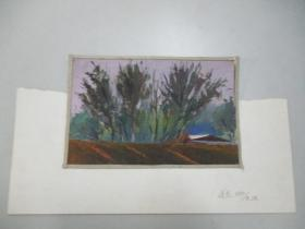 80年代  风景老水粉画 小品一张   尺寸17/11厘米  14