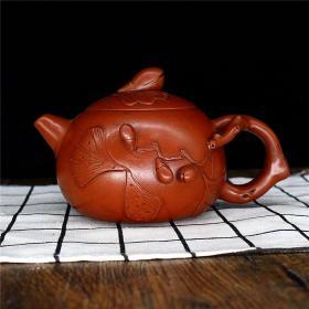 宜兴紫砂壶 正宗原矿手工朱泥 家用泡茶壶 功夫茶具套装 银杏壶
