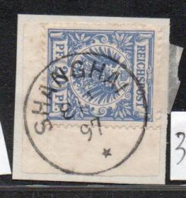(3088)德鹰徽20pf芬尼上海客邮局1897.1.8剪片全戳 (使用上海戳式2见图)