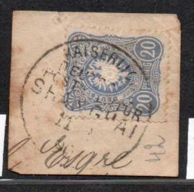 (3089)德鹰徽20pf芬尼 上海客邮局1890.4.11剪片戳 (使用上海戳式1见图)