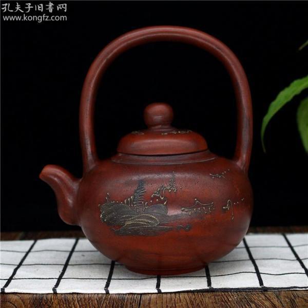正宗宜兴紫砂壶原矿朱泥手工泥绘提梁壶茶壶茶具