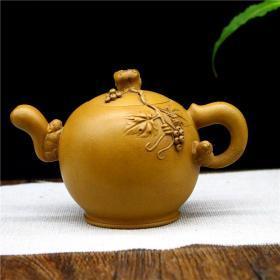宜兴原矿紫砂壶段泥手工茶壶茶具 松鼠葡萄