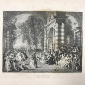 「乡村舞会」1836年初版 欧洲绘画大师经典名作 Wateau绘 W. H. Worthington刻 尺寸27.5*20.5厘米 / GLYPCT18