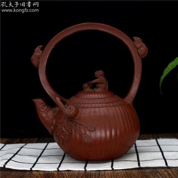 正宗宜兴原矿朱泥提梁壶 茶壶茶具