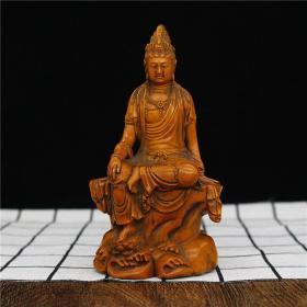 黄杨木雕坐观音摆件