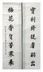 著名书法家【曹硕文】有款无章书法对联一幅,原装原裱立轴,尺寸:133*32*2厘米(约7.7平尺)