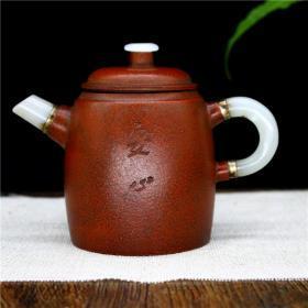 宜兴紫砂壶原矿手工镶嵌玉石茶壶茶具