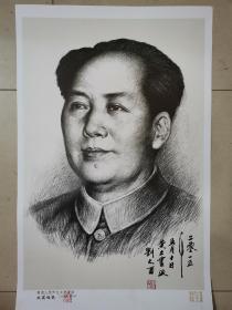 人民币毛主席创作者,。人民币同款,刘文西院长签名版主席像,签名是手写,章是盖上的,。,