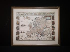 18世纪大幅彩色铜版地图 Atlant Europa by Guilielmo Blacuco,带框装帧,珍贵大气,古意盎然!