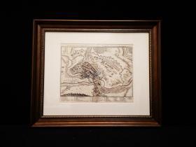1632年 古代铜版地图 Thonamerth战役,欧洲三十年战争,出自史上最著名的制图师Matth?us Merian的代表作《欧洲舞台》(Theatrum Europaeum)(1629-1650年),带框装帧,品相完美,极具历史意义和收藏价值!国际拍卖公司级别,难得一见!