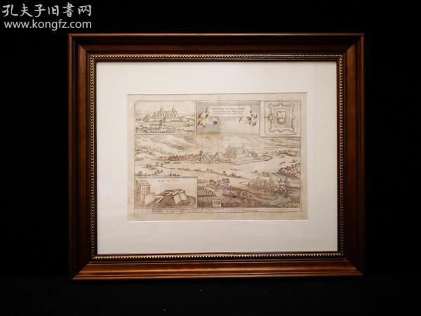 1648年 古代铜版地图 Abbildung 中世纪城堡地图,出自史上最著名的制图师Matth?us Merian的代表作《日耳曼尼亚地理志》(Topographia Germaniae)。带框装帧,品相完美,极具历史意义和收藏价值!国际拍卖公司级别,难得一见!