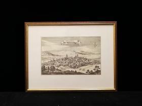 1660年 古代铜版地图 Margentbeim 中世纪城堡地图,出自史上最著名的制图师Matth?us Merian的代表作《日耳曼尼亚地理志》(Topographia Germaniae)。带框装帧,品相完美,极具历史意义和收藏价值!国际拍卖公司级别,难得一见!
