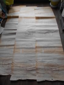老纸头【瓦当纹空白对子,3张】有黄斑。尺寸:126×32cm·