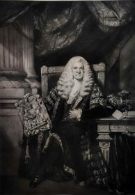 """""""雷诺兹Reynolds""""名画1902年""""英国美柔汀铜版画参展作品系列""""《利福福德爵士》—英国皇家学院院长""""乔舒亚·雷诺兹爵士(Sir Joshua Reynolds, 1723-1792)""""作品 R.DUNKARTON雕刻 40x31cm 高档美柔汀铜版画"""