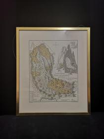 1710年 大幅彩色铜版地图 Die Landschaft Toggenbury 瑞士托根堡地区地形图,带框装帧,珍贵大气,古意盎然!