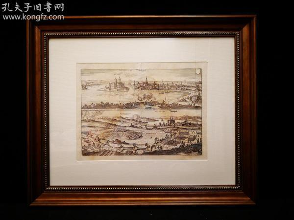 1650年 Wolgastuh Bollgart之战,欧洲三十年战争,出自史上最著名的制图师Matth?us Merian的代表作《欧洲舞台》(Theatrum Europaeum)(1629-1650年),带框装帧,品相完美,极具历史意义和收藏价值!国际拍卖公司级别,难得一见!