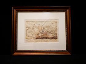 1650 古代铜版地图 与西班牙军队的一场野战,欧洲三十年战争,出自史上最著名的制图师Matth?us Merian的代表作《欧洲舞台》(Theatrum Europaeum)(1629-1650年),带框装帧,品相完美,极具历史意义和收藏价值!国际拍卖公司级别,难得一见!