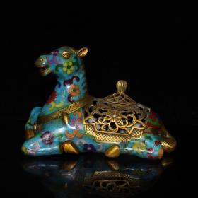 景泰蓝铜胎珐琅彩汗血宝马熏香炉摆件