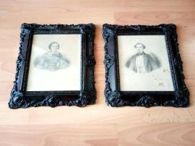 1856年手绘铅笔画《肖像组画》 -- 非常精美的雕花原木老画框30*25厘米(两幅)