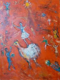 【名家油画】马戏团(画风源自俄裔油画大师夏加尔  外径 45×34.5厘米)
