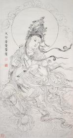大行普贤菩萨白描手绘像三尺整张白色宣纸