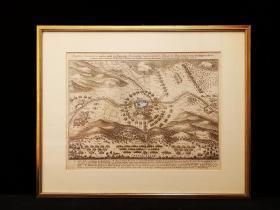 1643年 古代铜版地图《图林根战役》,欧洲三十年战争,出自史上最著名的制图师Matth?us Merian的代表作《欧洲舞台》(Theatrum Europaeum)(1629-1650年),带框装帧,品相完美,极具历史意义和收藏价值!国际拍卖公司级别,难得一见!