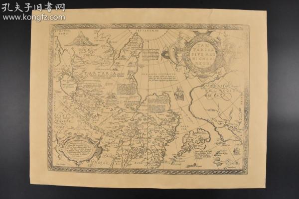 (丙1134)复制版  寰宇全图之《TARTARIAE SIVE MAGNI CHAMI REGNI》黑白地图单面1张 1570年鞑靼地图 元大都(Cambalu)上都(Xandu)等标记 《Theatrum orbis terrarum》寰宇全图由弗兰德学者及地理学家亚伯拉罕?奥特里斯(Abraham Ortelius)在 1570 年首次出版,其中共包含 53 幅地图,每幅地图均附有详细注释。
