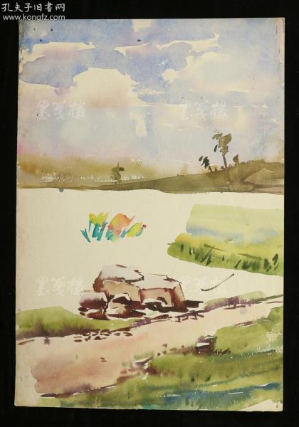著名水彩画家、曾任哈工大教授 陈桂馥 水彩画作品一幅两面(尺寸:39*26m)HXTX312715