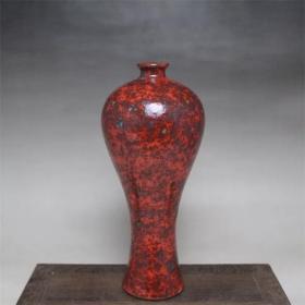 清 窑变花釉梅瓶美人花瓶 古董古玩 景德镇手工仿古瓷器复古摆件